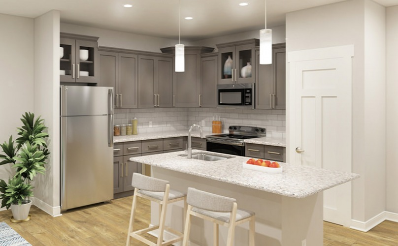 Open-concept living and kitchen with kitchen island