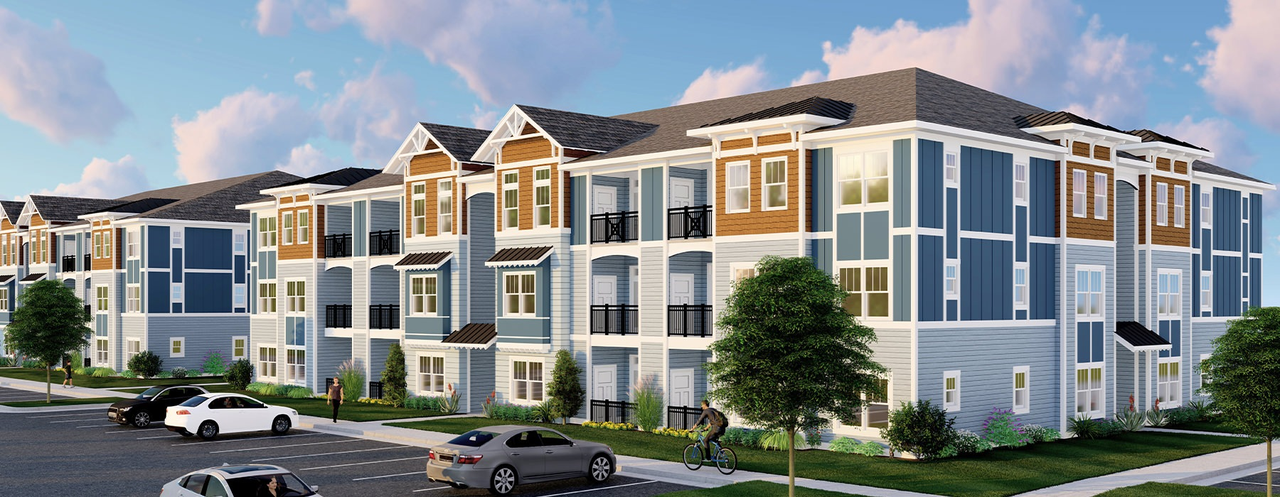 Hawthorne at Pine Forest three-story apartments with balconies