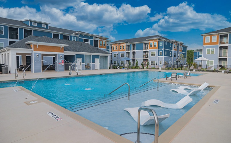 Sparkling Saltwater Swimming Pool at Hawthorne at Pine Forest in Oak Island, NC